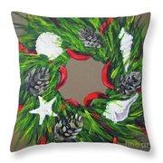Beach Christmas Wreath Throw Pillow