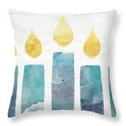 Beach Colors Menorah- Art By Linda Woods Throw Pillow