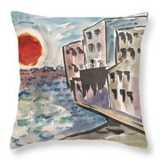 Beach Condos Throw Pillow