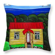 Beach Cottage Throw Pillow