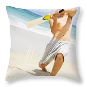 Beach Cricket Slog Throw Pillow