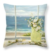 Beach Daisies In Yellow Vase Throw Pillow