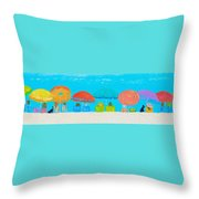 Beach Decor - Umbrellas Panorama Throw Pillow