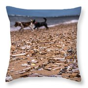 Beach Dogs Throw Pillow