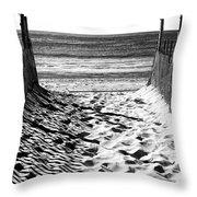 Beach Entry Black And White Throw Pillow