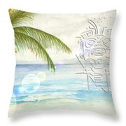 Beach Etching Throw Pillow by Darren Cannell