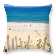 beach fence and ocean Cape Cod Throw Pillow by Matt Suess