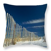 Beach Fence And Snow Throw Pillow