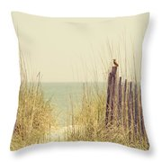 Beach Fence In Grassy Dune South Carolina Throw Pillow