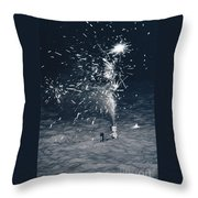 Beach Fire Works Throw Pillow