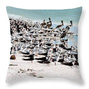 Beach Flock Throw Pillow