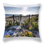 Beach Flowers Before The Fence Throw Pillow