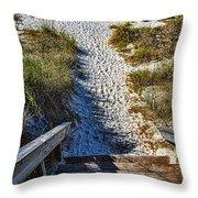 Beach Footprints - Boca Grande Florida Throw Pillow