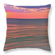 Beach Girl And Sunset Throw Pillow