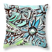Beach Glass Flowers 1- Art By Linda Woods Throw Pillow