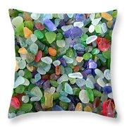 Beach Glass Mix Throw Pillow