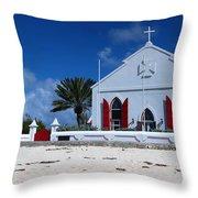 Beach Grand Turk Church Throw Pillow