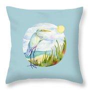 Beach Heron Throw Pillow