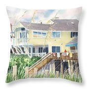 Beach House At Wrightsville Beach Throw Pillow