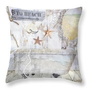 Beach House Bath Throw Pillow