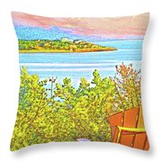 Beach House On The Bay Throw Pillow