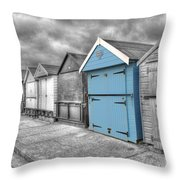 Beach Hut In Isolation Throw Pillow