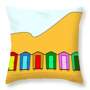 Beach Huts And Sand Throw Pillow