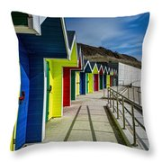Beach Huts At Barry Island Throw Pillow