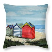 Beach Huts On The Sand Throw Pillow