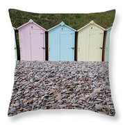 Beach Huts X Throw Pillow