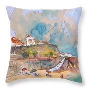 Beach In Ericeira In Portugal Throw Pillow
