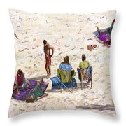 Beach Life Cornwall Throw Pillow