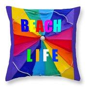 Beach Life Smart Phone Work A Throw Pillow