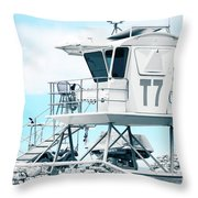 Beach Lifeguard Tower Throw Pillow