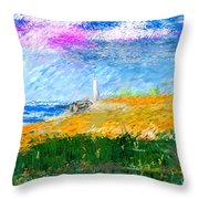 Beach Lighthouse Throw Pillow