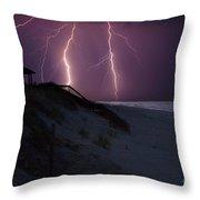 Beach Lighting Storm Throw Pillow