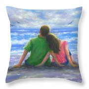Beach Lovers Pink And Green Throw Pillow
