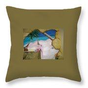 Beach Mural Throw Pillow