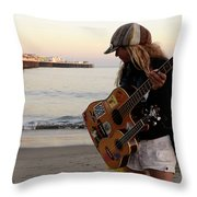 Beach Musician Throw Pillow
