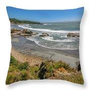 Beach Near Cape Foulwind Throw Pillow