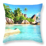 Beach On La Digue Seychelles Throw Pillow