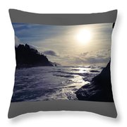 Beach - Oregon - Golden Sun Throw Pillow