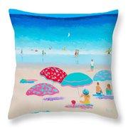 Beach Painting - A Golden Day Throw Pillow
