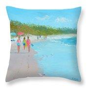 Beach Painting 'beach Strolling' By Jan Matson Throw Pillow