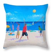 Beach Painting Beach Volleyball  By Jan Matson Throw Pillow