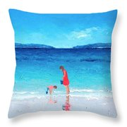 Beach Painting - Cooling Off Throw Pillow
