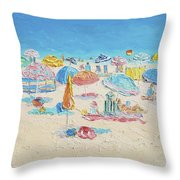 Beach Painting - Crowded Beach Throw Pillow