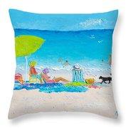 Beach Painting - Lazy Beach Day Throw Pillow