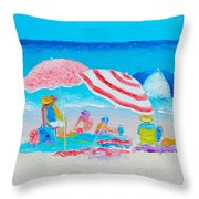 Beach Painting - Summer Beach Vacation Throw Pillow