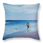 Beach Painting - The Lone Surfer Throw Pillow